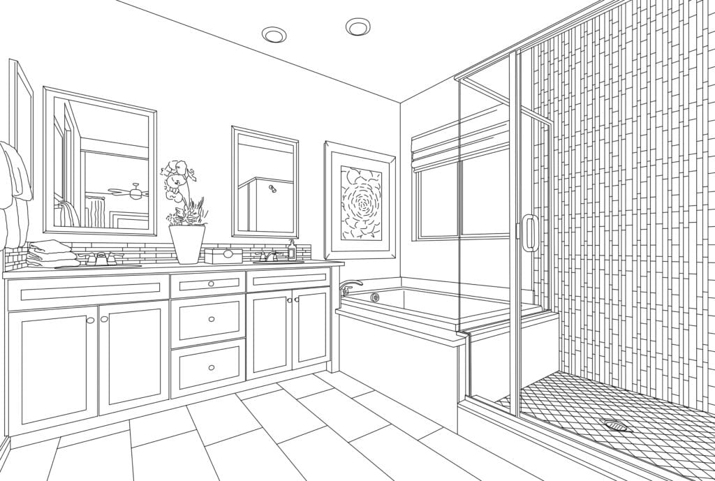 Detailed Drawing of A Custom Master Bathroom on White.