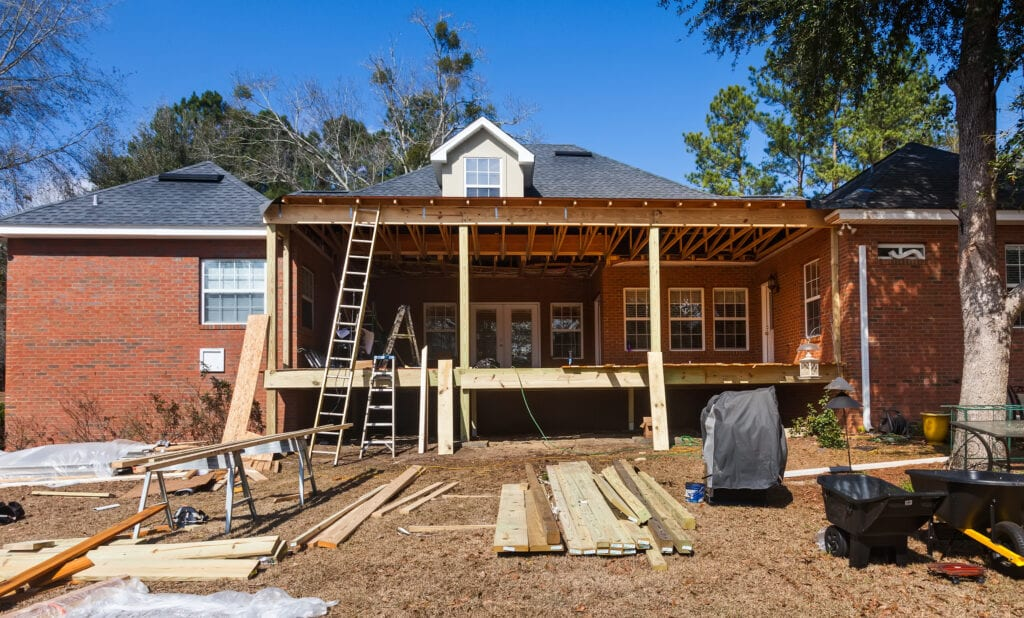 Construction at residential house, back deck being recontructed and repaired